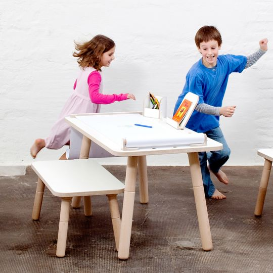 Growing Table mitwachsender Kindertisch Juniortisch in Weiß Birke