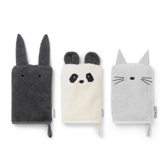 Liewood Waschhandschuh-Set Sylvester Hase/Panda/Katze Classic