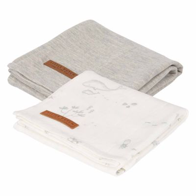 Little Dutch Pucktücher Jersey Ocean White 70x70 cm 2er-Set