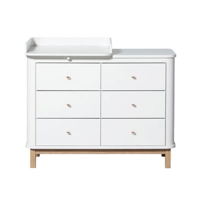 Oliver Furniture Wood Kommode 6 Schubladen Eiche + Wickelplatte klein