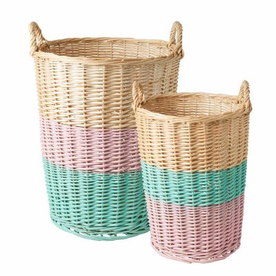 Rice Weidenkorb Soft Pink und Mint im 2er Set