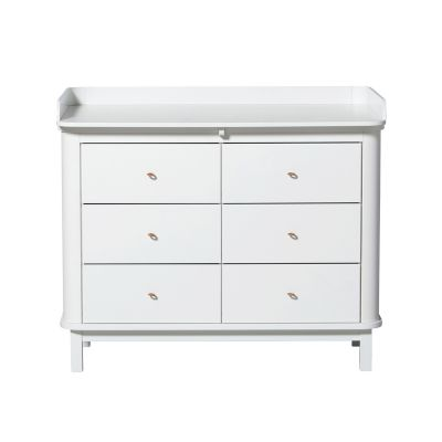 Oliver Furniture Wood Kommode 6 Schubladen Weiss + Wickelplatte groß