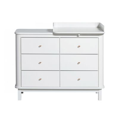 Oliver Furniture Wood Kommode 6 Schubladen Weiss + Wickelplatte klein