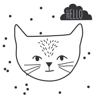 MIMI'lou Wandtattoo Just a Touch Hello Cat