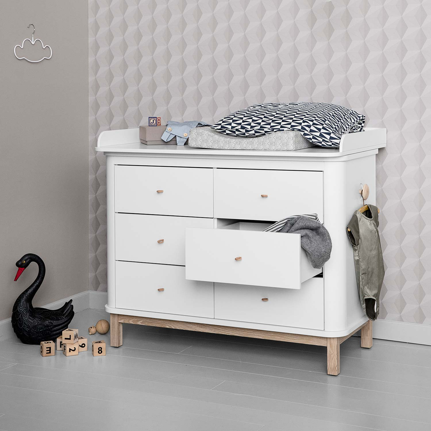 Oliver Furniture Wood Kommode 6 Schubladen Eiche + Wickelplatte groß